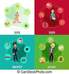 vie, concept, humain, cycle