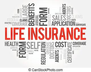 vie, concept, mot, collage, fond, healthcare, assurance, nuage