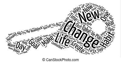 vie, concept, mot, texte, jours, changement, fond, ton, nuage