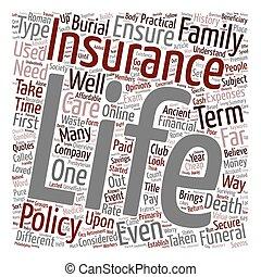 vie, concept, présentation, wordcloud, fond, texte, assurance, histoire