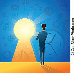vie, concept, reussite, illustration affaires, regarder, sien, clã©, homme affaires, en avant!, nouveau, occasion, trouver