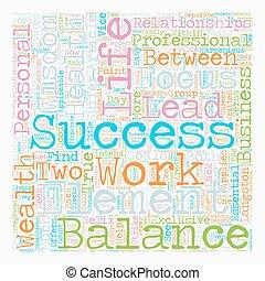vie, concept, texte, travail, wordcloud, fond, équilibre, au-delà