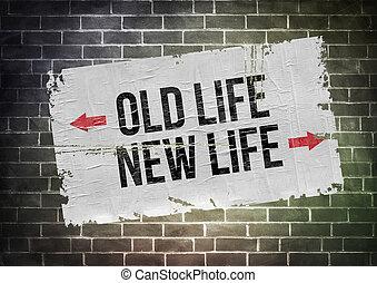 vie, concept, vieux, affiche, -, nouveau