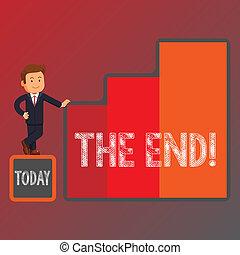 vie, conclusion, business, photo, projection, temps, columns., homme affaires, fin, showcasing, croissance, quelque chose, main, graphique, conceptuel, reussite, écriture, présentation, end.