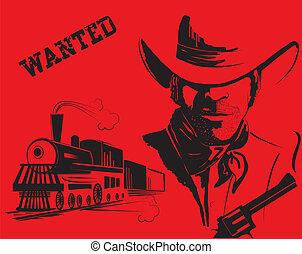 vie, cow-boy, train., bandit, vecteur, occidental