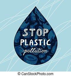 vie, déchets, peint, bannière, goutte, écologique, eau, ocean., notre, marin