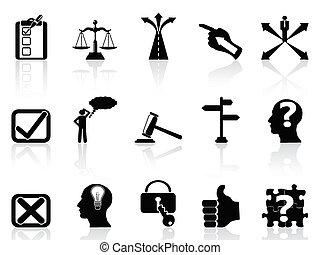 vie, décisions, icônes, ensemble