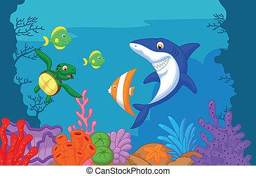 vie, dessin animé, mer