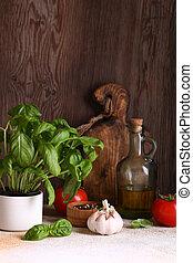 vie domestique, organique, basilic, table cuisine, frais