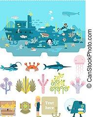 vie eau, au-dessous, illustration