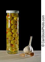 vie, encore, ail, olives