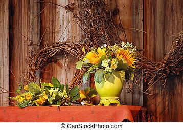 vie, encore, fleurs, automne