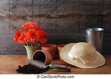 vie, encore, jardinage