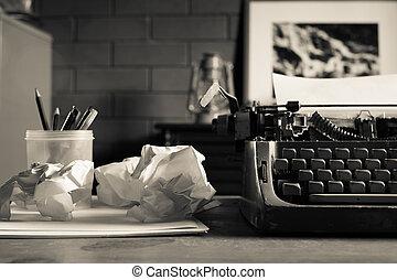 vie, encore, retro, bureau