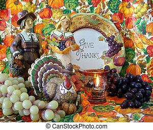 vie, encore, thanksgiving, décorations, pélerins