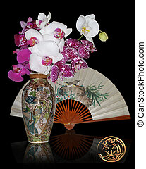 vie, encore, ventilateur, asiatique, orchidées