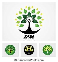vie, ensemble, gens, résumé, arbre, vecteur, humain, logo, icône