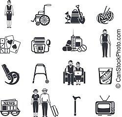 vie, ensemble, icônes, noir, retraités, blanc