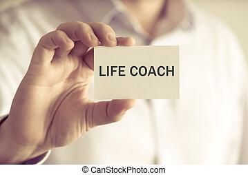 vie, entraîneur, tenue, homme affaires, message, carte