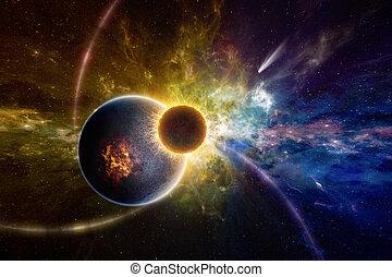 vie, extérieur, formulaire, espace, profond, planète, extraterrestre, exploser, surnaturel, orbiter