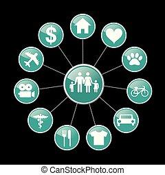 vie, famille, apparenté, icônes
