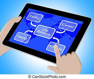 vie, famille, carrière, diagramme, rendre, santé, équilibre, spectacles, 3d