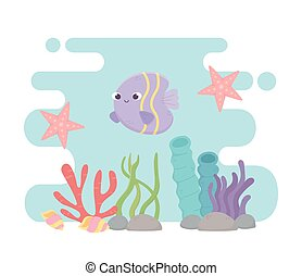 vie, fish, sous, etoile mer, seashells, récif, dessin animé, mer corail