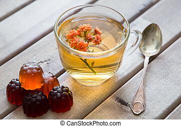 vie, fleur, cup., tasse, bois, thé, marmalade., clair, cuillère, closeup, table, encore