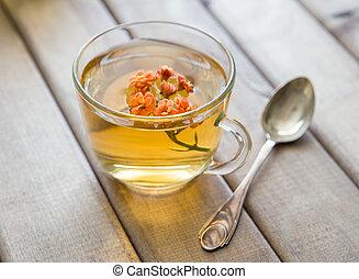 vie, fleur, cup., tasse, bois, thé, spoon., clair, closeup, table, encore