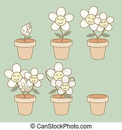 vie, fleur, illustration, croissance, démonstration, cycle