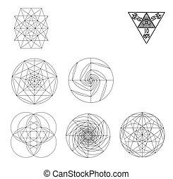 vie, fleur, illustration., géométrie, symbole., symboles, vecteur, hipster, sacré, signes, tattoo.