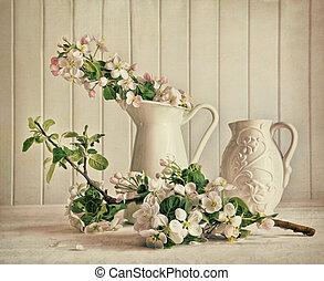 vie, fleurs, fleur apple, vase, encore