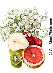 vie, fleurs, fruit, encore