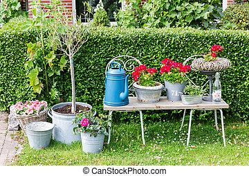 vie, fleurs, jardin, arrosoire, potted, encore