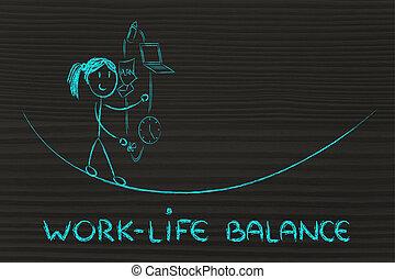 vie, fonctionnement, &, diriger, ju, travail, responsibilities:, mère, équilibre