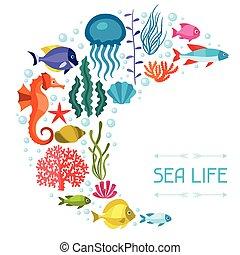 vie, fond, animals., conception, mer, marin