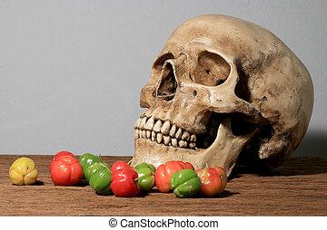 vie, frais, crâne, bois, photographie, arrière-plan., cerises, humain, calendrier, encore, récolte, mur