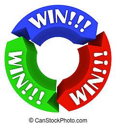 vie, gagner, -, flèches, chanceux, jeux, mots, cercle