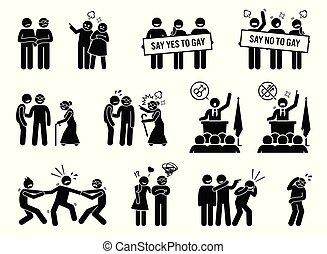 vie, gay, hurdles., problèmes, social, homme