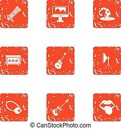 vie, grunge, icônes, ensemble, musicien, style