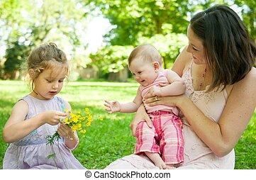 vie, heureux, -, enfants, mère