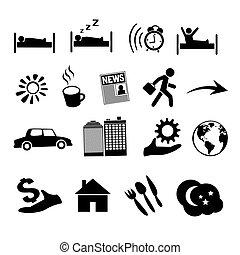 vie, icônes concept, isolé, vecteur, humain