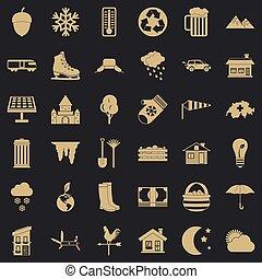 vie, icônes, ensemble, pays, style, simple