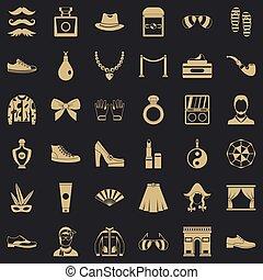 vie, icônes, ensemble, style, simple, vogue