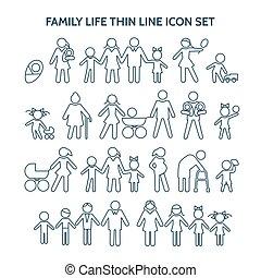 vie, icônes, ligne, famille, mince