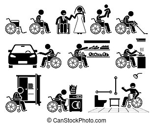 vie, icons., personne, crosse, mener, fauteuil roulant, normal, handicapé, figure