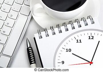 vie immobile affaires, de, a, cahier, et, clavier, sur, les, bureau