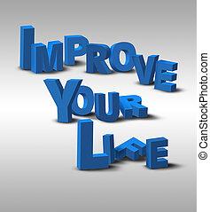 vie, inspiration, message texte, 3d, ton, améliorer