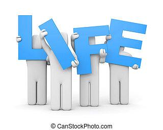 vie, lettres, gens, former, mot, prise