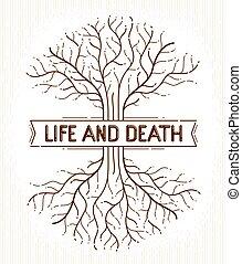 vie, linéaire, classique, arbre, symbole., vecteur, cycle, mort, logo, vie, dessin, style